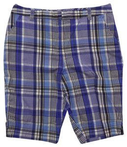 Kim Rogers Bermuda Shorts Blue and White Plaid Print