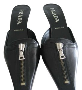 Prada Leather Silver Hardware Black Mules