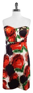 J.Crew short dress Floral Print Silk Strapless on Tradesy