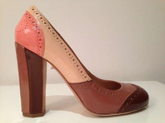 Miu Miu Patent Leather Round Toe Brown and nudes color block Pumps