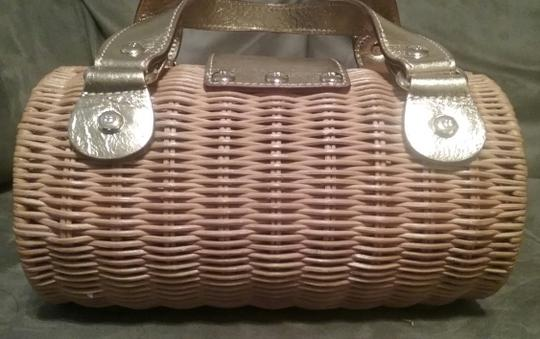 Kate Spade Natural Wicker Leather Trim Silver Hardware Gold Tote in Straw