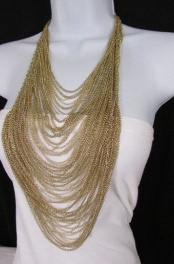 Other Women 16 Long Gold Multi Waves Strands Chains Fashion Necklace Earrings