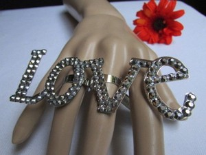 Other Women Big Fashion Statement Huge Love Silver Metal Ring Rhinestones One