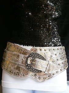 Other Women Belt Silver Faux Leather Wide Western Waist Fashion Metal Buckle