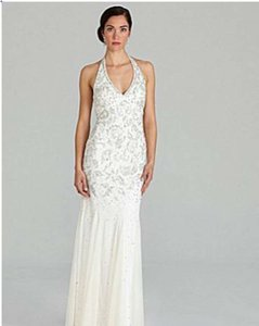 Adrianna Papell Ivory Polyester Beaded Halter Gown Formal Wedding Dress Size 12 (L)