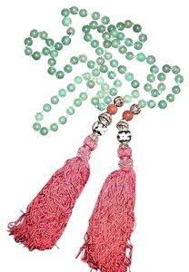 Jade Green Aventurine Quartz Beads Cloisonne Tassel Lariat Necklace 46 Long