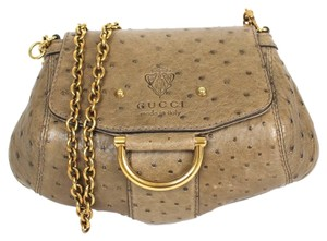Gucci Olive Green Nuetral Ostrich Small Clutch Cross Body Bag