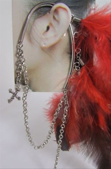 Other Trendy Women Summer Fashion Red Feathers Long Over Ear 1 Side Cuff Earring