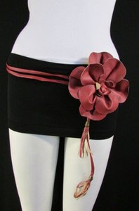 Women Black Gold Red Brown Hip Waist Fashion Belt Big Flower 25-40