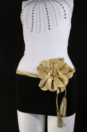 Other Women Black Gold Red Brown Hip Waist Fashion Belt Big Flower 25-40