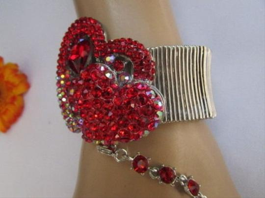 Other Women Silver Slave Big Heart Ring Love Bracelet Coneccted Red Rhinestones