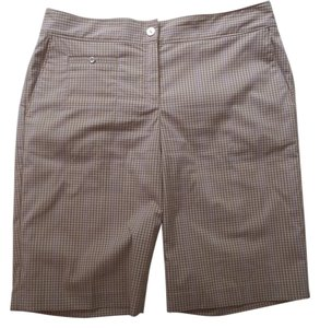 Izod Bermuda Shorts Light Brown, White & Lavender Checkered Print