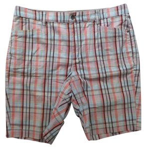 Gloria Vanderbilt Bermuda Shorts Orange and Brown Plaid