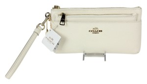 Coach Leather Multi Zipper Wristlet in Chalk