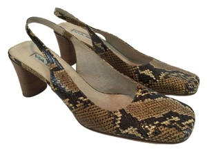 Via Spiga Snake-print Slingback Leather Brown Sandals