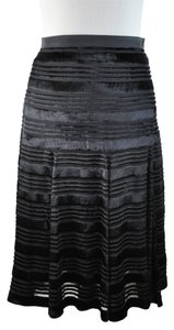 Louis Vuitton Silk Velvet Burnout Stripe Full Flounce Sheer Size 36 Skirt Black