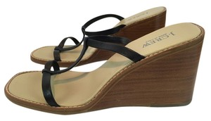 J.Crew Leather Sandal Black Wedges