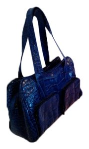 Michael Rome Made In Italy Leather Satchel in Blue