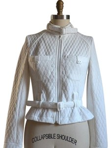WHITE QUILTED COTTON BIKER MOTO MOTORCYCLE JACKET with MATCHING WAIST BELT Chanel style