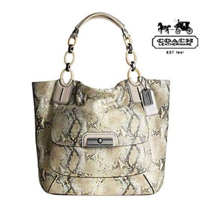 Coach Kristin Embossed Metallic Tote in python