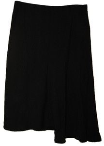 BCBGMAXAZRIA Wool Blend Pinstripe Asymmetrical Skirt Black