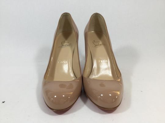 Christian Louboutin Simple Patent Leather Nude Pumps