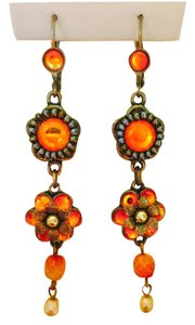 Michel Negun ONE OF A KIND-- MICHEL NEGRUN PEARL AND ORANGE STONE EARRINGS