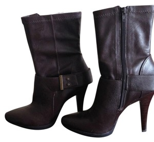 Nine West Bootie Faux Leather Dark Brown Boots