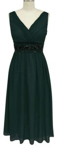 Hunter Green Goddess Beaded Waist Cocktail Size:large/xl Dress Dress