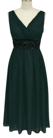 Hunter Green Chiffon Goddess Beaded Waist Cocktail Size:large/ Feminine Bridesmaid/Mob Dress Size 16 (XL, Plus 0x)