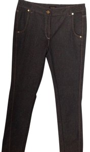 Escada Brass Gold Sparkle Dressy Elegant Straight Leg Jeans-Medium Wash