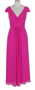 Pink Chiffon Long Elegant Pleated Waist Mini Sleeves Formal Feminine Bridesmaid/Mob Dress Size 28 (Plus 3x)