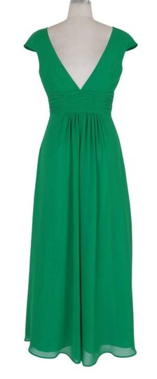 Green Chiffon Long Elegant Pleated Waist Mini Sleeves Formal Feminine Bridesmaid/Mob Dress Size 16 (XL, Plus 0x)