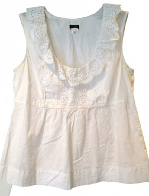 Preload https://item5.tradesy.com/images/jcrew-white-sleeveless-embroidered-blouse-size-4-s-36084-0-0.jpg?width=400&height=650