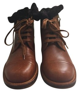Chanel Combat Leather Lace-up Brown Boots