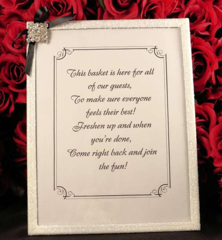 Unplugged Wedding Poem Sign And Bathroom Basket Amenities