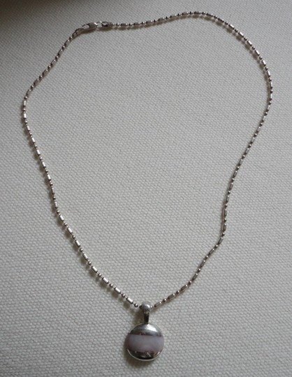 Other 925 Sterling Silver Necklace & Pendant w/Pink Quartz Inlay Pendant