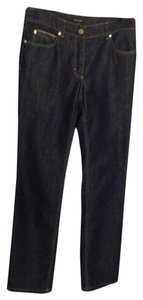 Escada Dressy Soft Straight Leg Jeans-Dark Rinse