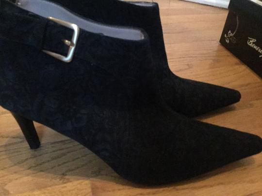 Ellen Tracy Jacquard Embossed Suede Black Boots