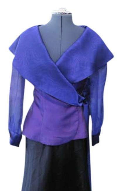 POSITIVELY ELLYN Vintage Sheer Fabric Evening Wear Fancy Top PURPLE