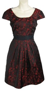 Minuet Petite Roses Floral Red Metallic Dress