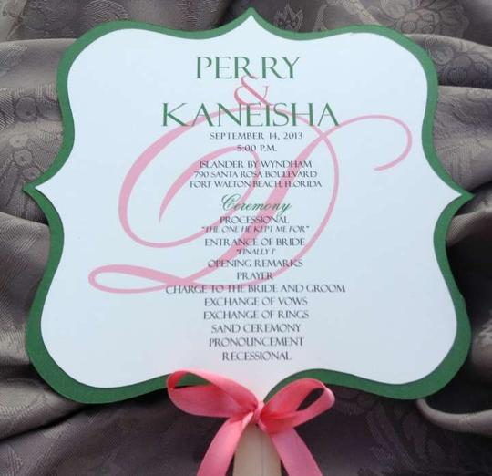 Metallic Green And Coral Wedding Program Fan