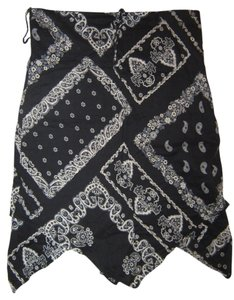 BCBG Paris Patterned Geometric Hem Skirt Navy blue