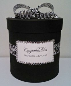 Black And White Damask Card Box