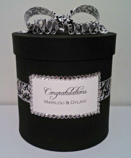 Black and White Damask Card Box Other