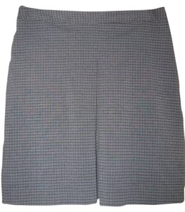 Free People Mini Checkered Pattern Pleat Mini Skirt Blue/gray checkered