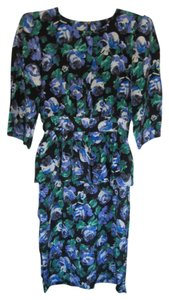 Kristina 3/4 Sleeves Elbow Sleeves Floral Peplum Vintage Dress