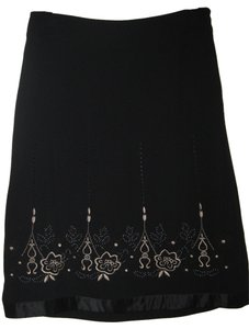 Ann Taylor LOFT Flower Design Silky Trim Skirt Black