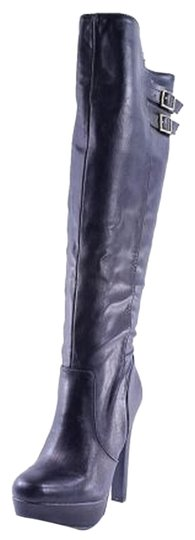 Preload https://item3.tradesy.com/images/material-girl-black-knee-high-faux-leather-platform-gold-buckle-bootsbooties-size-us-8-3611287-0-0.jpg?width=440&height=440