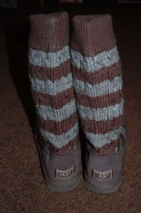 Ugg Australia Brown And Grey Cable Sweater Bootsbooties Size Us 8